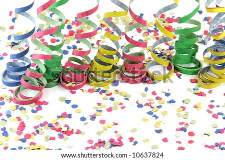 streamers and confetti texture isolated on white background celebration and holiday concepts - stock photo
