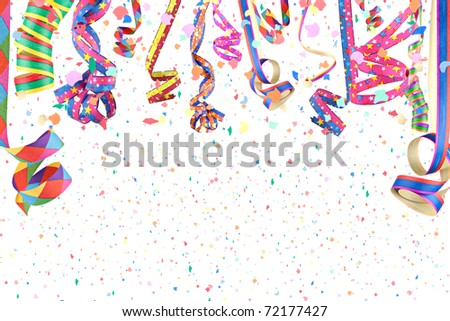 streamers in a rain of confetti - stock photo