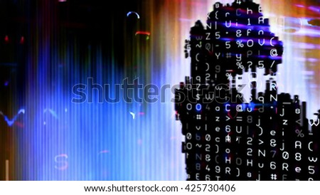Streaming digital data abstraction 10876 from a series of futuristic tech imagery. - stock photo