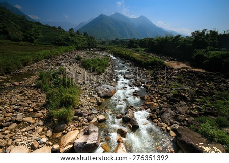 Streams originating from the mountain  - stock photo