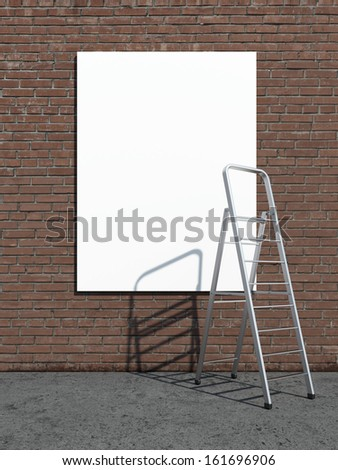 street advertising billboard with stepladder - stock photo