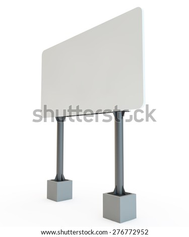 street advertizing  billboard on racks with the concrete bases - stock photo