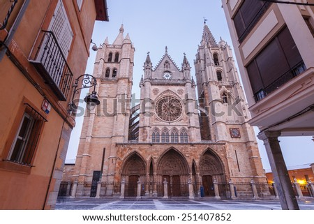 Street and Cathedral of Leon, Spain. - stock photo