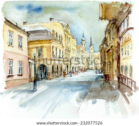 Street and Tower in winter, watercolor illustration - stock photo