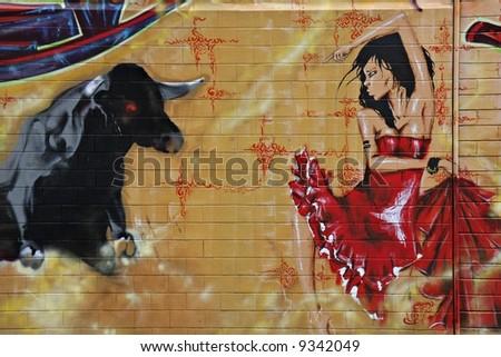 Street Art - bullfight #1 - stock photo