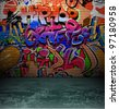 Street art graffiti wall background, urban grunge design - stock photo