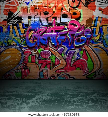 Street art graffiti wall background, urban grunge design - stock photo