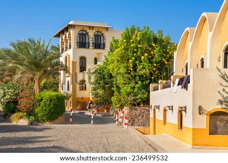 Street at town of El Gouna. Egypt, North Africa - stock photo