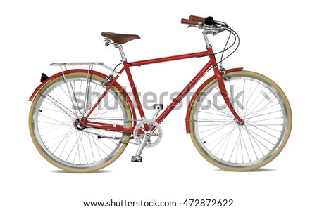 Street bicycle with red frame.  Clipping path included.
