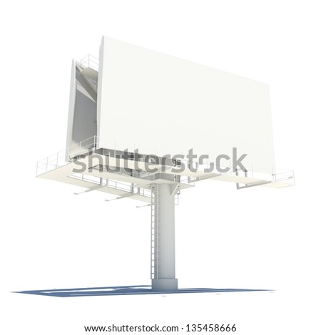 Street billboard. Isolated render on a white background - stock photo