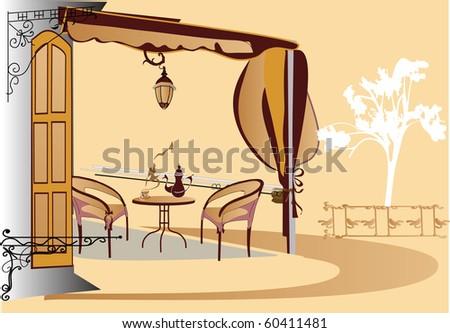 Street cafe - stock photo