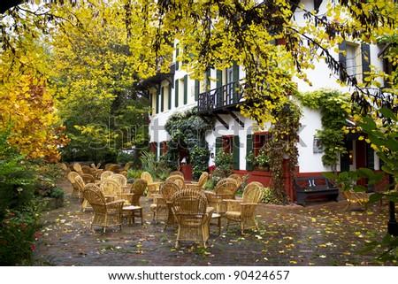 Street cafe restaurant , hotel - stock photo