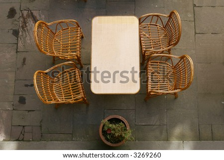 street cafe, top view - stock photo
