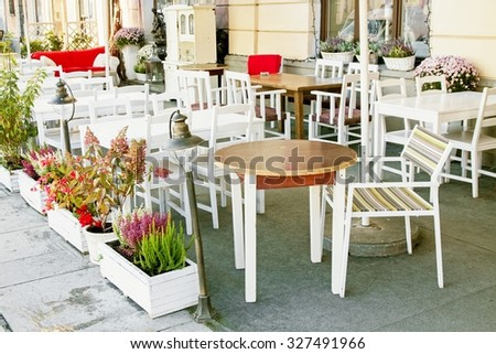 Street city cafe restaurant with table and chair in europe