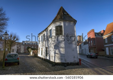 Street corner with old houses and trees in royal town Ribe, Denmark