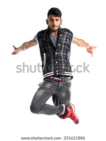 Street dance man jumping