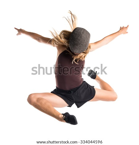 Street dance woman jumping - stock photo