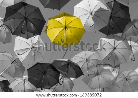 Street decorated with colored umbrellas.Madrid,Getafe, Spain - stock photo