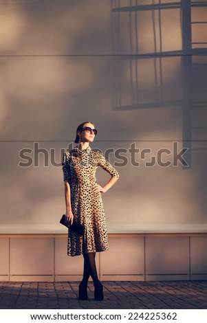 Street fashion photo elegant pretty woman in a leopard dress and sunglasses posing in city on evening sunny sunset - stock photo