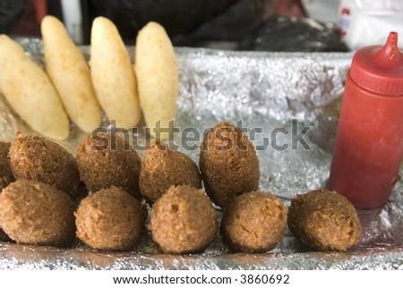 street food emanadas, johnny cakes, fritters empanadas from vendor dominican republic - stock photo