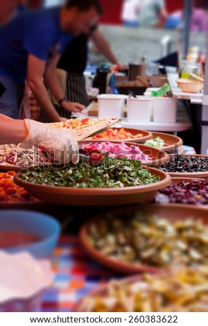 Street food in England, sandwich prepared form indian food - stock photo