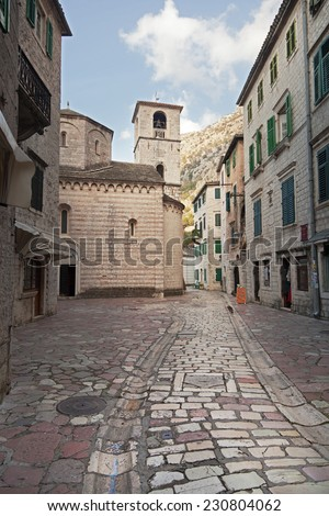 Street in an old European city, Kotor, Montenegro - stock photo