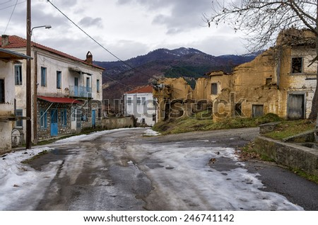 Street in Antartiko village, Florina, Greece - stock photo