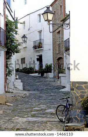 Street in Cadaques, Costa Brava, Catalonia, Spain - stock photo