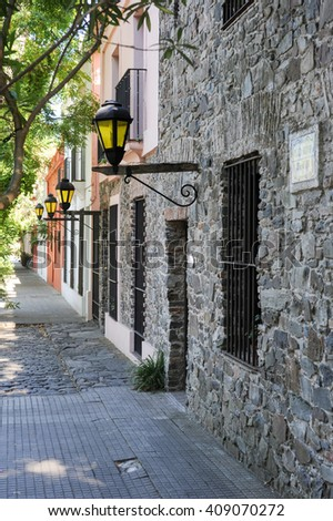 Street in colonial town of Colonia del Sacramento in Uruguay - stock photo