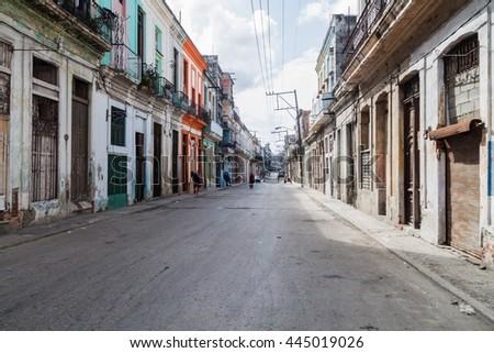 Street in Havana Centro neighborhood, Havana, Cuba - stock photo