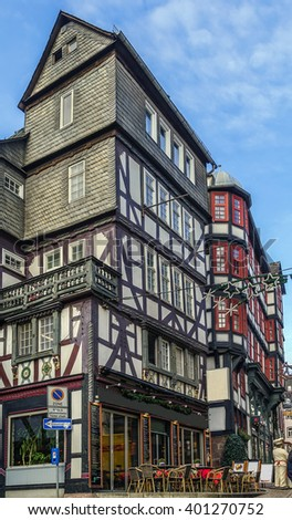 street in Marburg with half-timbered houses, Germany