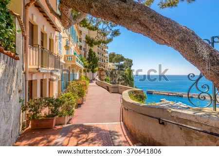 Street in Monaco Village in Monaco Monte Carlo, France. - stock photo