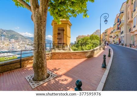 Street in Monaco Village in Monaco Monte Carlo, France. - stock photo