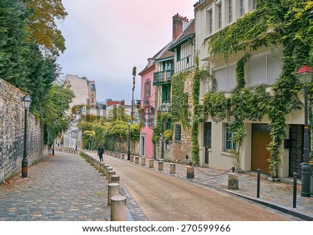 street in Montmartre, Paris, France, in the evening - stock photo