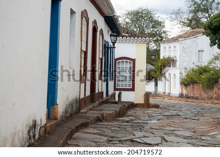 Street in old historic town in Brazilian countryside - stock photo