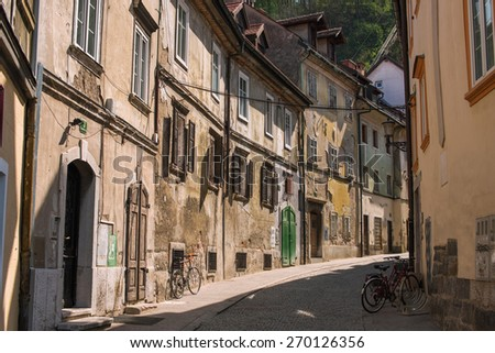 Street in old town Ljubljana, Slovenia - stock photo