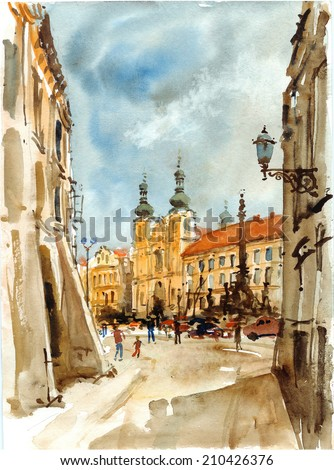 Street in old town square, watercolor illustration - stock photo