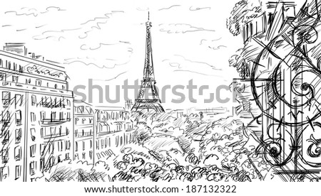 Street in paris - sketch  illustration  - stock photo