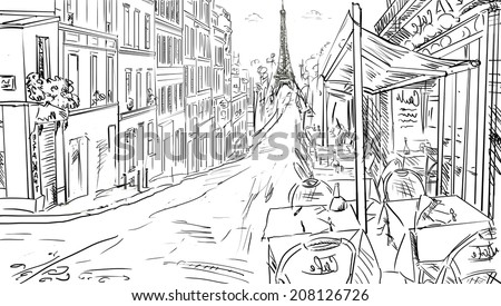 Street in paris -sketch  illustration  - stock photo