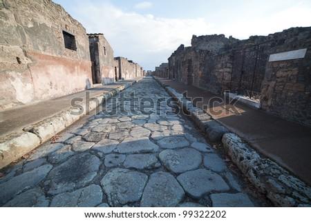 Street in Pompeii ruins, Italy. - stock photo