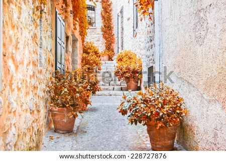 Street in Provence during the fall - stock photo