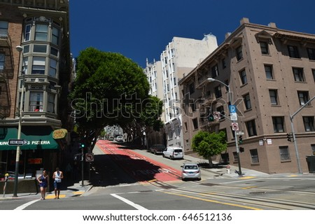 Street in San Francisco from May 3, 2017, California USA