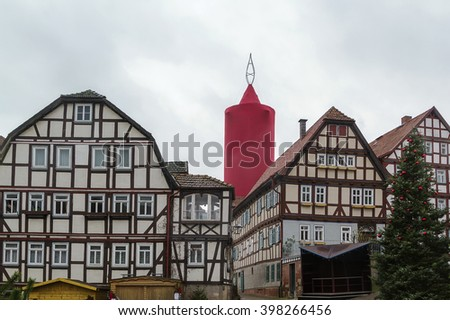 street in Schlitz with half-timbered houses, Germany