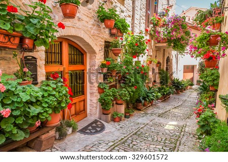 Street in small town in Italy in summer, Umbria - stock photo
