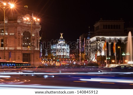 Street in the center of Madrid at night. Spain, Europe. - stock photo
