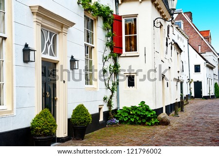 Street in the Dutch Medieval City - stock photo