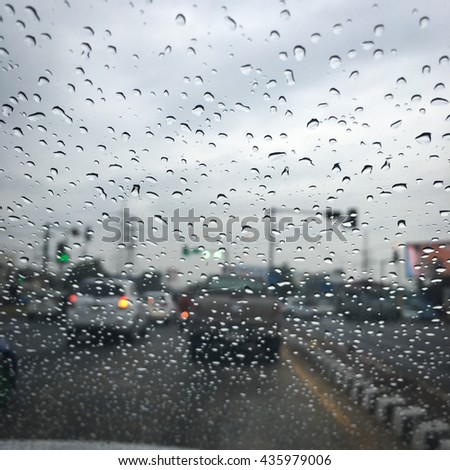 Street in the heavy rain - stock photo
