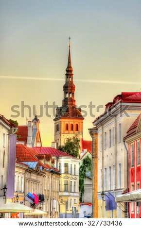 Street in the historic centre of Tallinn, Estonia - stock photo