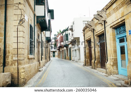 Street in the old town. - stock photo