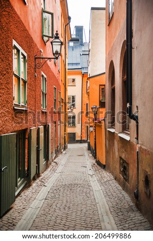 Street in The Old Town in Stockholm, Sweden - stock photo